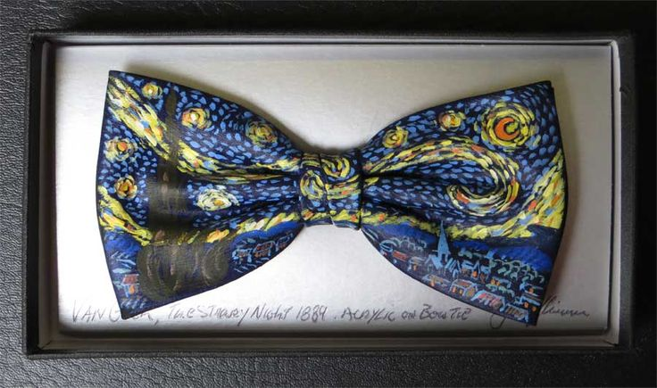 Van Gogh's Starry Hand painted Bow Tie By John Kirwan Available at  The Keeling Gallery Dublin, Ireland