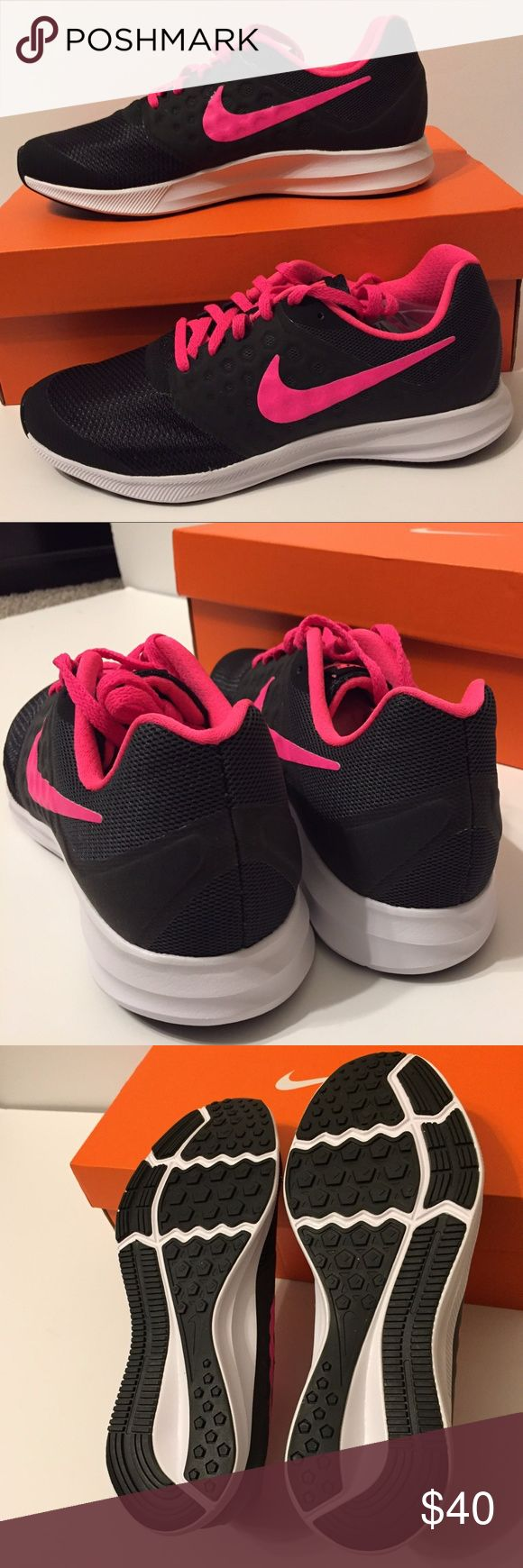 Nike Girl's Running Shoes Size 7 Black, Hot Pink Brand new in box!  Comes with an extra pair of black shoelaces.  Comes from a smoke-free and pet-free home.  A durable lace-up running shoe with breathable mesh upper. Designed for performance. Nike Shoes Sneakers