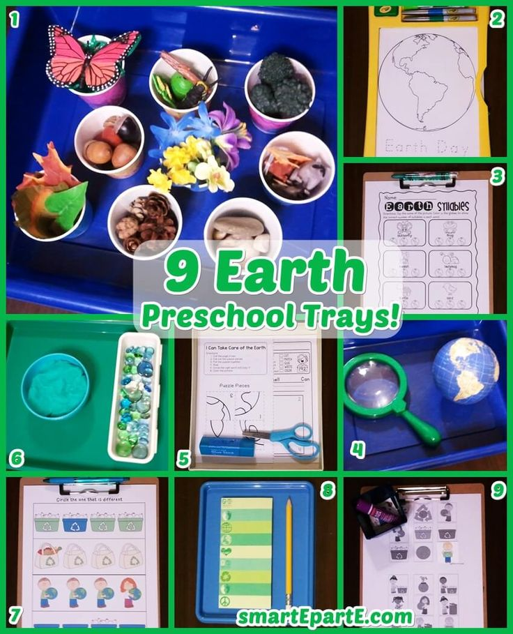 8 Earth Preschool Trays! We did this set over Earth Day but these Earth Preschool ideas could be used any time of the year.
