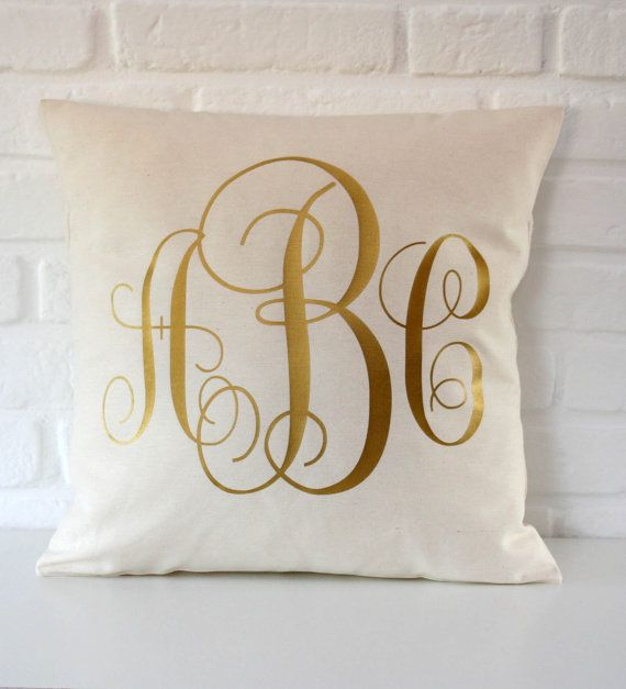 Personalized Monogrammed pillow - Gold throw pillow cover - 16x16 18x18 20x20 24x24 -  Monogram Pillow- Cushion Gold Monogram -