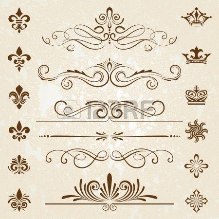 Vintage decorazione elementi di design con arredi pagina Archivio Fotografico