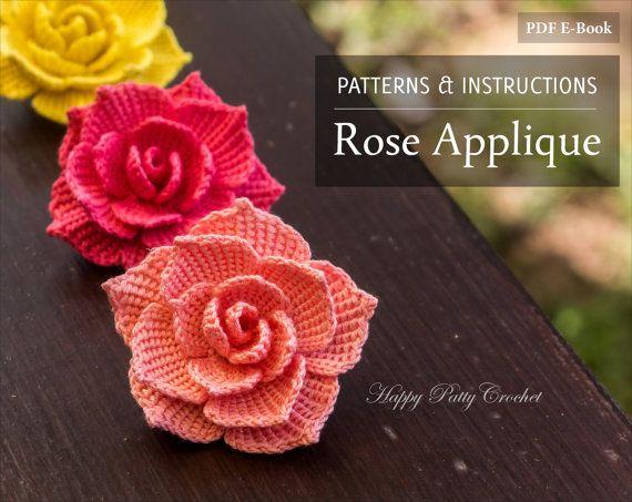 Crochet motif Rose - Crochet-fleur Applique motif - motif à fleurs au Crochet pour broche Rose - téléchargement immédiat - fleur Crochet Pattern