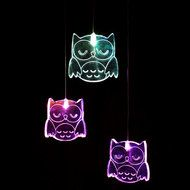Mobile Owl  each lit by it's own colour changing LED, suspended by micro wire from an acrylic ring and battery pod. Colour cycle - full spectrum.  Power Requirements: 3 x AAA batteries (not included). Batteries (Alkaline) will last approximately 30 – 50 hours. Rechargeable batteries can be used.