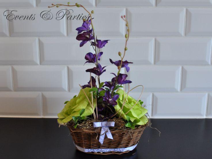 Kosz Wiosenny na zielono z nutką fioletu