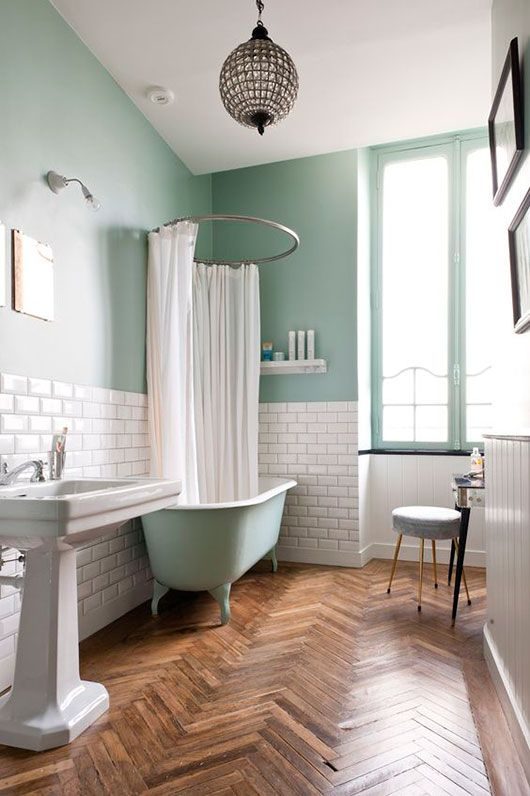 Parisian bath: pale aqua walls, elegant lighting, herringbone wood floors, clawfoot tub painted to match the wall color. Simple, timeless and oh so pretty!
