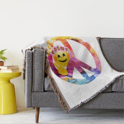 #Peace Sign Hippie Emoticon Watercolor Art Throw Blanket - #emoji #emojis #smiley #smilies