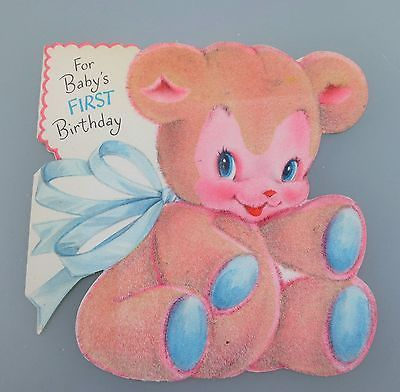 Vintage 1950's Hallmark Greeting Card Flocked Teddy Bear