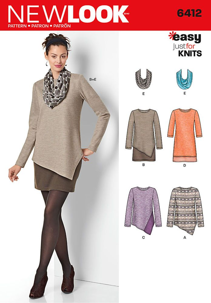 This easy to sew pattern features an asymmetric dress over contrast underskirt for easy layered look and tunics with asymmetric hem and optional contrast band or straight hemline longer in the back. Plus Infinity scarf.