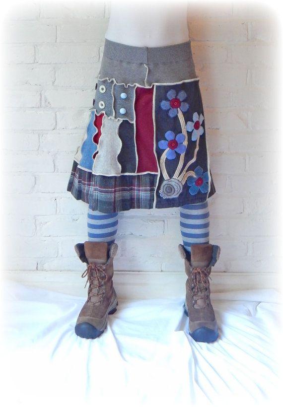 Flower Recycled Boho Skirt Folk Stretch Flared Bohemian Floral Grey Hippie Chic Upcycled Eco Clothing Wearable Art. Elastic Waist. Large