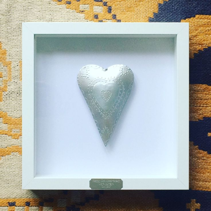 Framed Personalised Tin Heart 10th Wedding Anniversary Gift