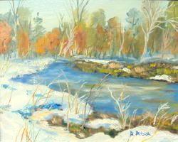 Winter Pond 8x10 Oil on Board by Rainer Pitsch