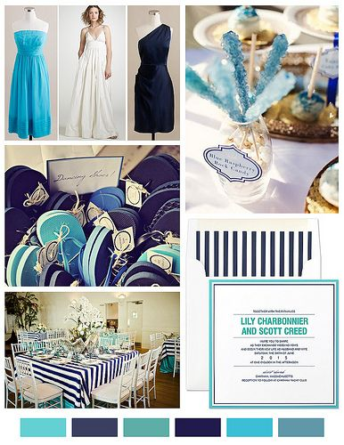 navy and turquoise wedding.  I love the color palettes at the bottom. Navy, seamist, aqua, turquoise, royal blue. etc.