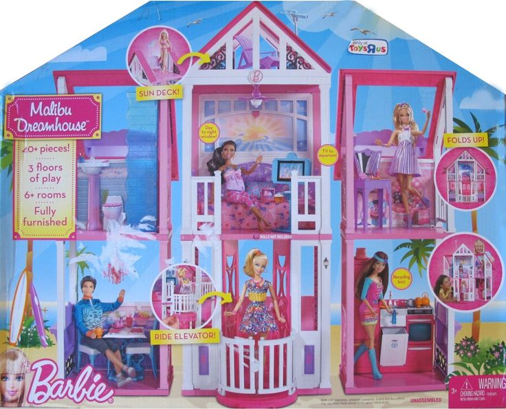 """Barbie MALIBU DREAMHOUSE Playset DREAM HOUSE w 40+ Pieces & ELEVATOR -TOYS""""R""""US Exclusive (2011). Experience a whole new life with our exclusive Barbie Malibu Dreamhouse. Instead of taking the stairs, Barbie can take the elevator from floor to floor. Dreamhouse folds out and includes 3-stories, 6+ rooms and 180 degrees of endless play (dolls not included). Perfect addition to all girls? Barbie collections!."""