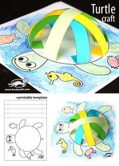 turtle crafts, children, elementary school, paper, #knutselen, kinderen, kleuter, basisschool, template voor schildpad, papier stroken, amfibie, tutorial