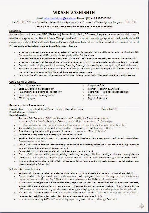example of resume profile sample template example ofexcellent curriculum vitae resume cv format with - Marketing Curriculum Vitae
