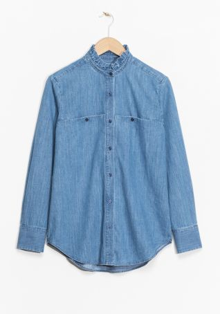 & Other Stories | Ruffle Collar Chambray Shirt