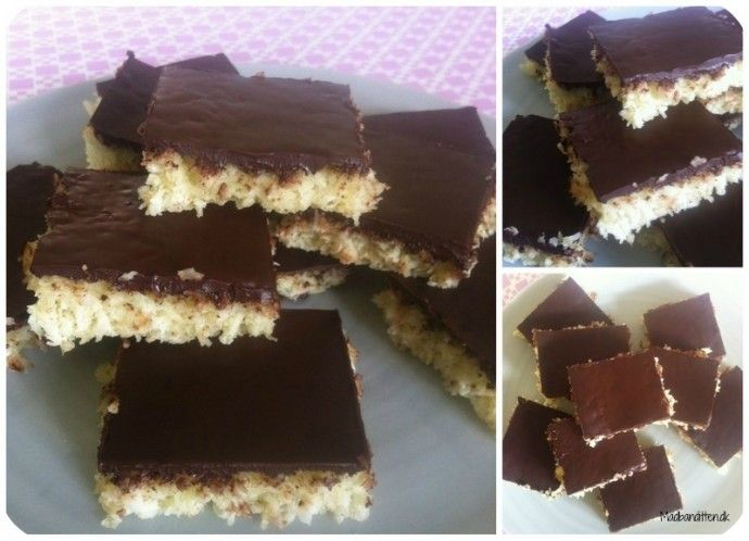 Completely sugarfree coconut cake with chocolate topping
