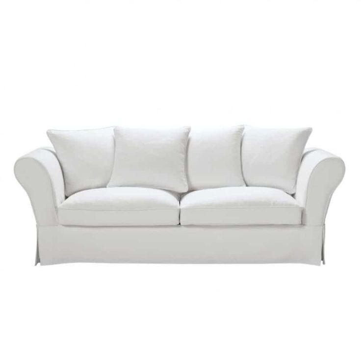 Brick Red 3/4-Seater Linen Sofa Bed | Maisons du Monde