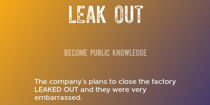 LEAK OUT => Become public knowledge => The company's plans to close the factory LEAKED OUT and they were very embarrassed.