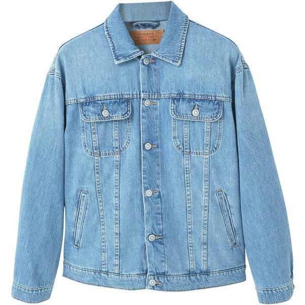 MANGO MAN Oversize light wash denim jacket ($90) ❤ liked on Polyvore featuring men's fashion, men's clothing, men's outerwear, men's jackets and mens oversized denim jacket