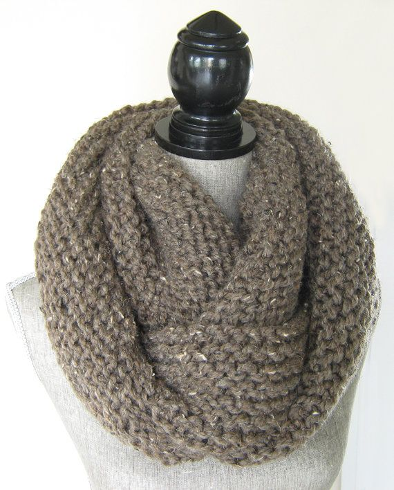Women's Chunky Knit  Taupe  Cowl  Wool Blend  by SwaddleinCloth