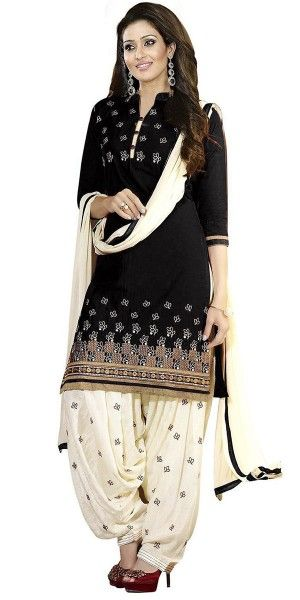 Dazzling Black Cotton Paitala Suit With Dupatta.