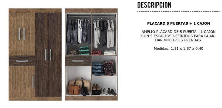 Placard Ropero 5 Puertas 1 Cajon - $ 2.408,59 en Mercado Libre