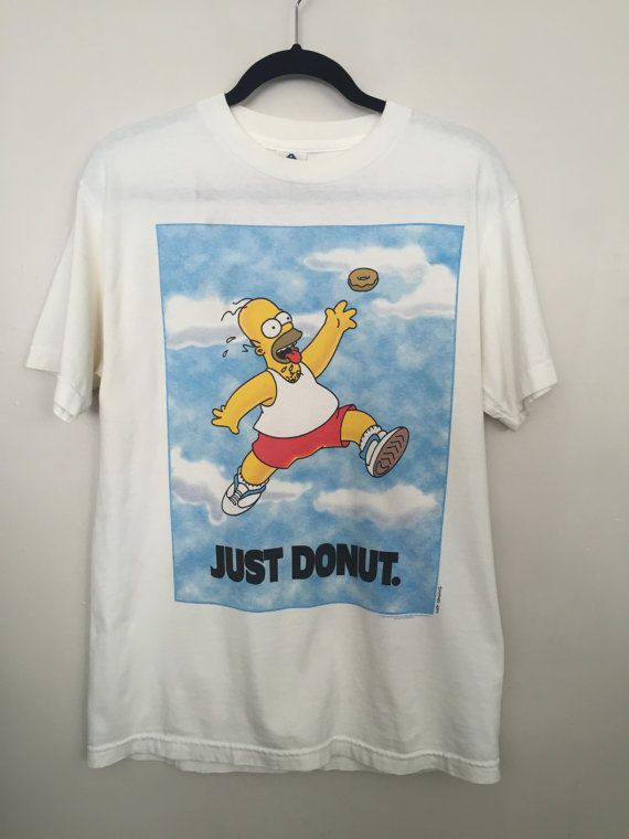 Simpsons shirt 90s Homer Simpson shirt ironic t shirt 90s vintage clothing just donut t-shit Nike spoof tshirt white tee medium   vintage 1996 Homer