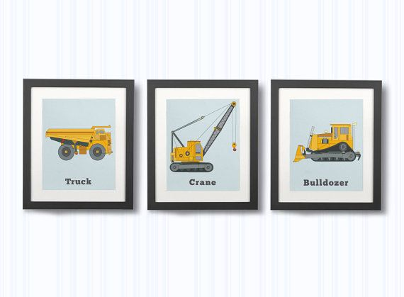CONSTRUCTION DECOR, Set of three Prints, Boys Construction, Vehicle Prints, Wall Art, Truck Room decor, Big Boys rooms