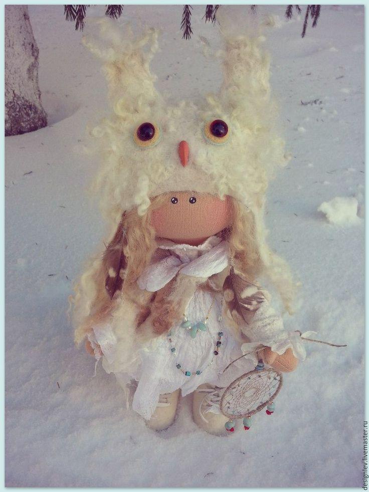 Купить Полярная Сова - белый, кукла большеножка, авторская кукла, коллекционная кукла, шаманка