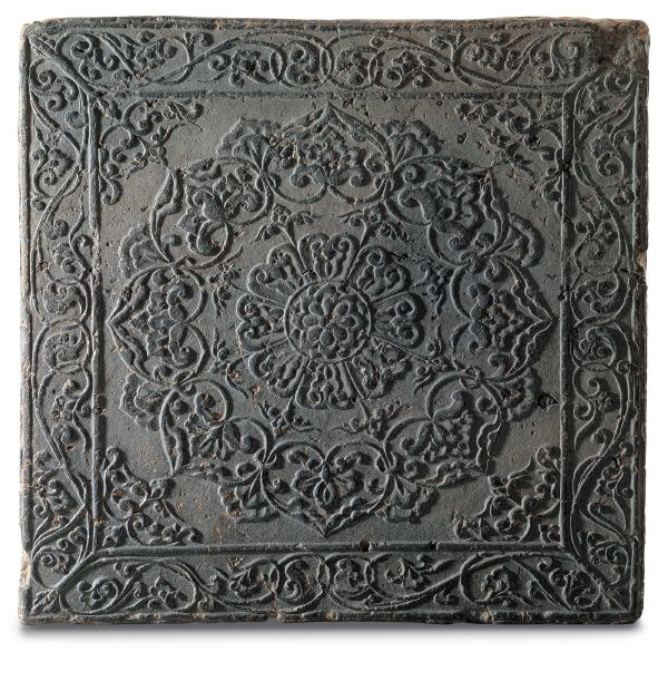Three Kingdoms Period(Silla) Brick with Floral Medallion and Dragon Design