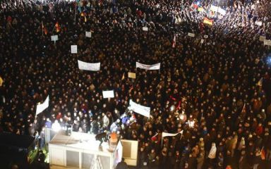 """1/20/15 The planned demonstration in Dresden by PEGIDA, or Patriotic Europeans against the Islamization of the West, was scrapped and police banned all rallies Monday after being informed of a call to kill Lutz Bachmann, PEGIDA's best-known figure. Cancellation """"doesn't mean that we'll let ourselves be gagged.""""  A demonstration is planned for next week. PEGIDA's branch in Copenhagen plans to go ahead with its first march Monday."""