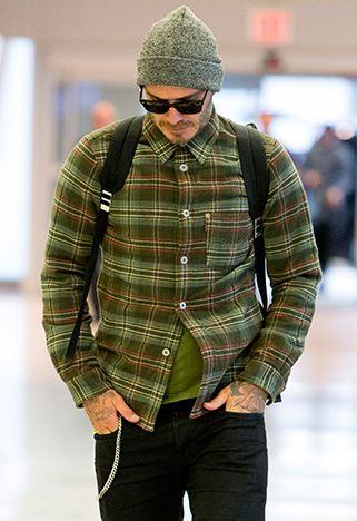 David Beckham in green checked shirt