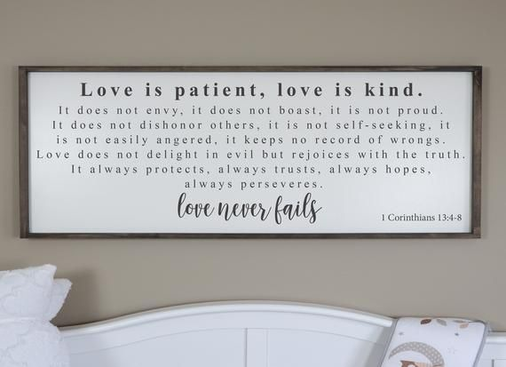 Love Is Patient Love Is Kind Sign Love Never Fails Sign Framed Wood Signs 1 Corinthians 13 Farmhouse Scripture Sign Bedroom Wall Decor With Images Wall Decor Bedroom Wood Frame Sign