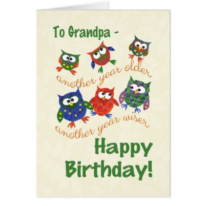 Cute Owls Birthday Card for a Grandpa - birthday gifts party celebration custom gift ideas diy
