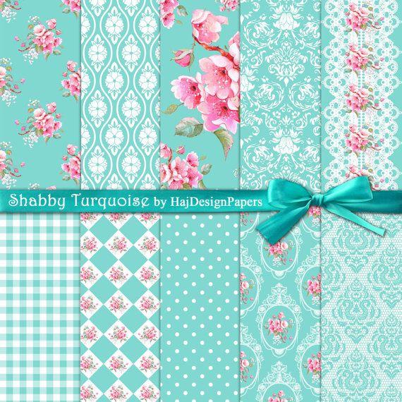 Turquesa Shabby - papel Digital Scrapbook papel, papel de Decoupage, papel Shabby Chic, azul Tiffany, Digital invitaciones, boda, Floral