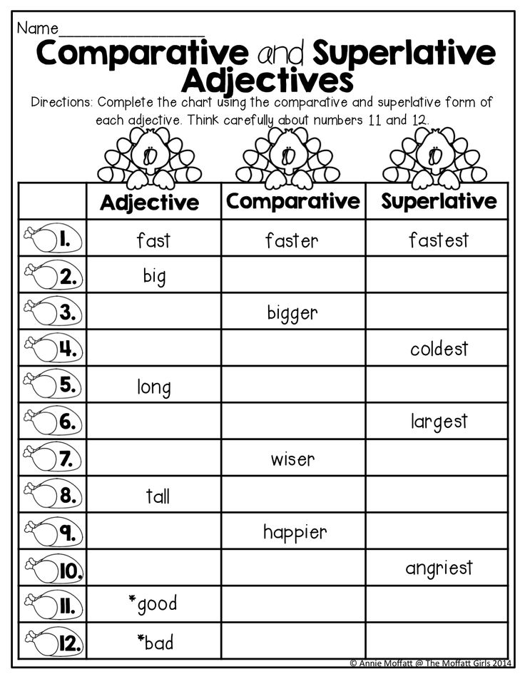 Comparative and superlative adjectives worksheet 3rd grade