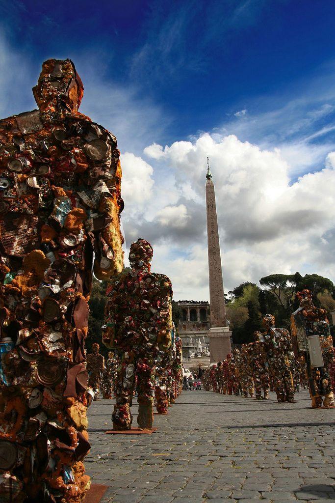 イタリア ローマ ポポロ広場でのアートイベント