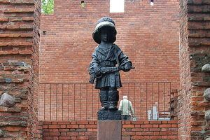 Mały Powstaniec (The Little Insurrectionist) in Warsaw Poland.  Because Warsaw was resisting Hitler, he ordered every citizen to be killed, including children and the city to be razed to the ground as a warning to others.