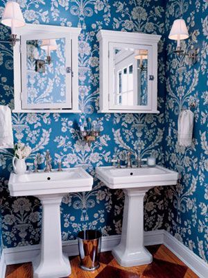 Blue And White Gain New Freshness And Grandeur In St. Antoine Wallpaper In  By Farrow U0026 Ball. The Symmetrical Arrangement Of The Sinks And Cabinets By  A Ball ...