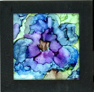 alcohol ink painting blue flower, alcohol ink art, frame included is 6. 5 x 6. 5 inches  flower painted on yupo and framed in a black frame. The artwork itself measures 5 x 5 inches.