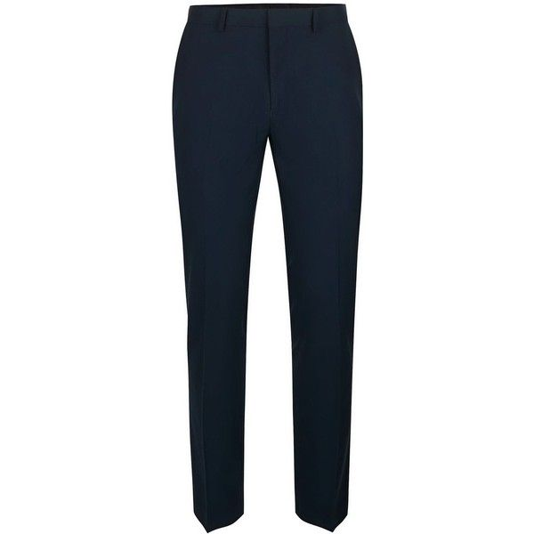 TOPMAN Navy Textured Stretch Skinny Fit Suit Trousers (£50) ❤ liked on Polyvore featuring men's fashion, men's clothing, men's pants, men's dress pants, blue, mens blue pants, mens super skinny dress pants, mens skinny dress pants, mens navy blue dress pants and mens navy dress pants