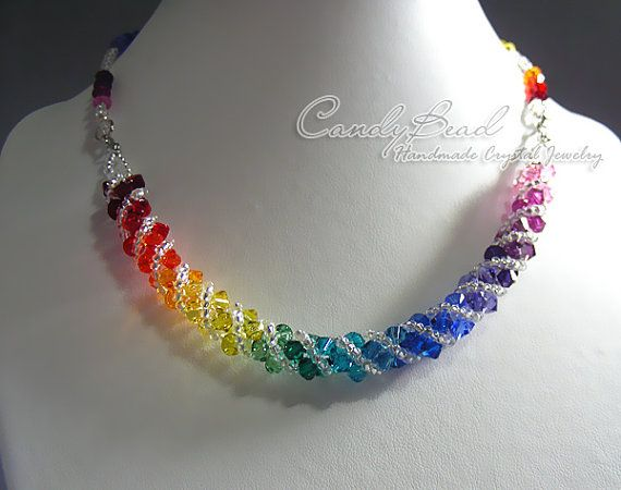 Swarovski necklace Spectrum rainbow twisty Swarovski by candybead, $19.50
