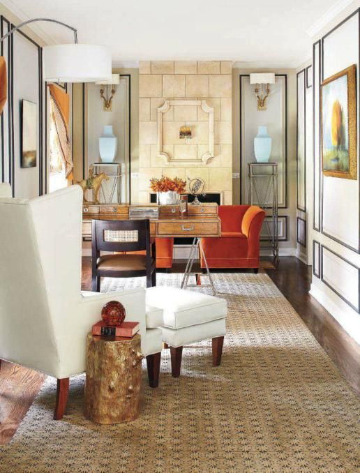 contrast paneling and tiled fireplace in office  Judi Mills GrossmanWriting Desks, Office Designs, Home Office Design, Mills Grossman, Offices Spaces, Interiors Design, Home Offices Design, Chicago, Desks Spaces