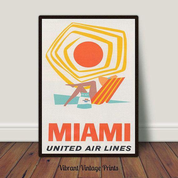 Miami Beach Print Vintage Travel Poster Retro Airline Print