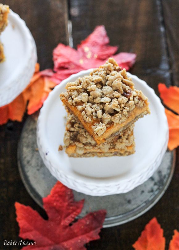These Pumpkin Cheesecake Crumb Bars have a crumble crust full of oats ...