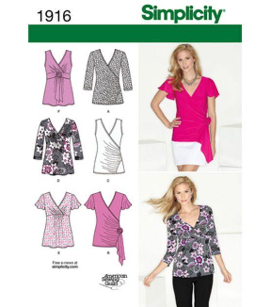 Simplicity Pattern Misses' Knit Tops 6-8-10-12-14, , hi-res