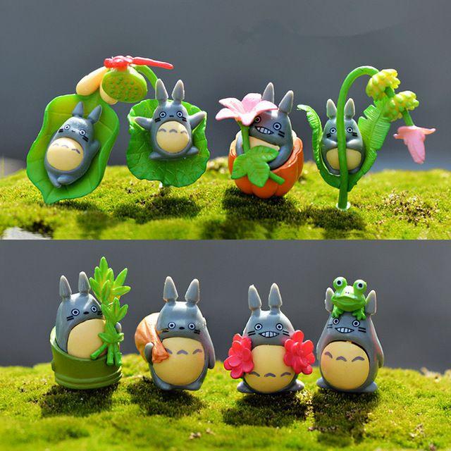 8 unids/set kawaii zakka historieta del anime hayao miyazaki totoro muñeca diy artesanías de resina figuras de hadas jardín en miniatura decoración para el hogar