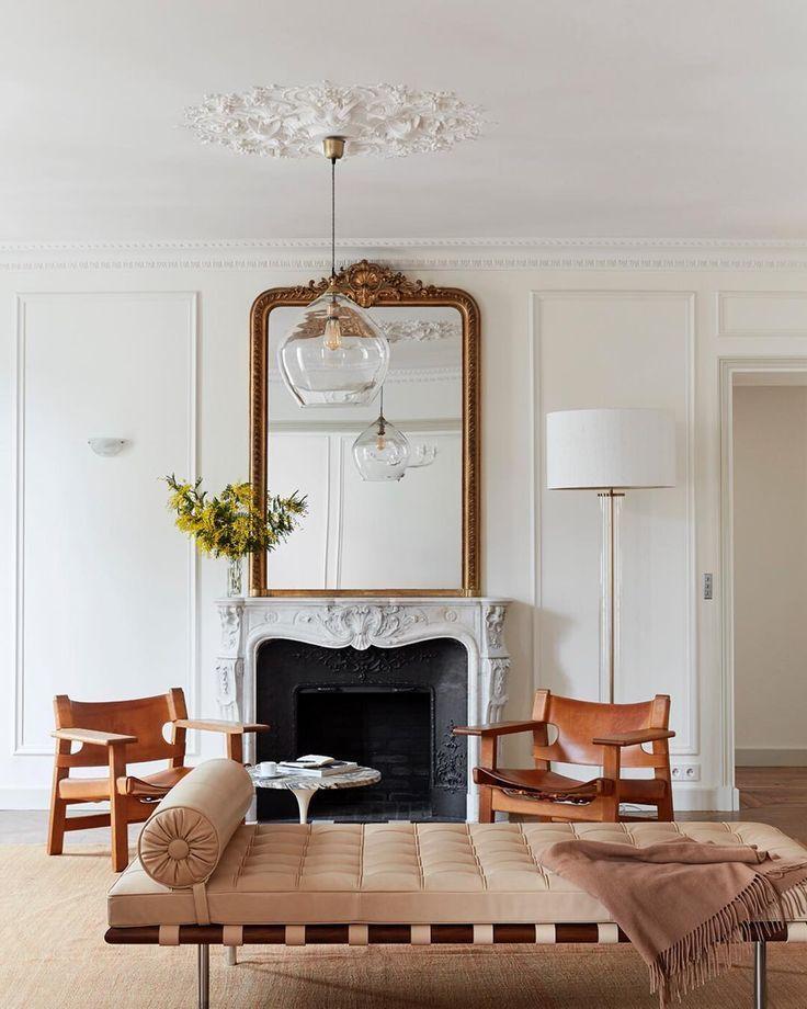 10 Parisian Style Gold Mirrors To Say Oui To Parisian Apartment Decor Parisian Living Room Apartment Decor