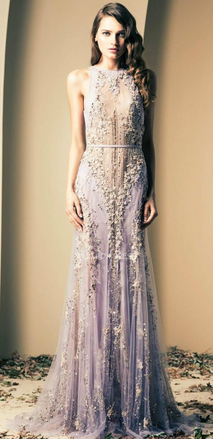 Ziad Nakad Haute Couture romantic lavender beaded lace evening gown evening gowns